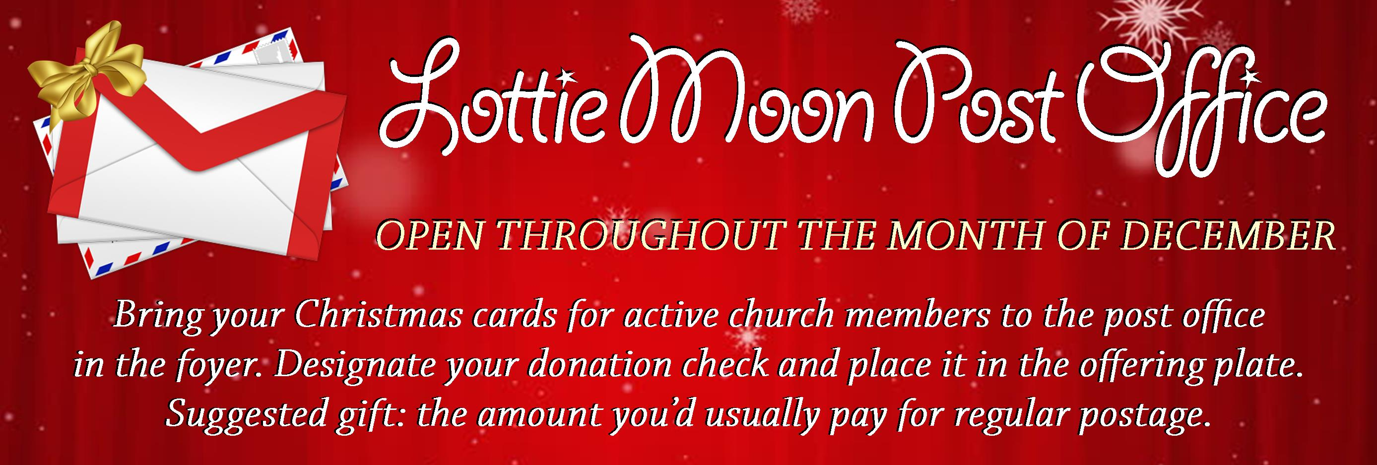missions emphasis lottie moon christmas - Post Office Open On Christmas Eve